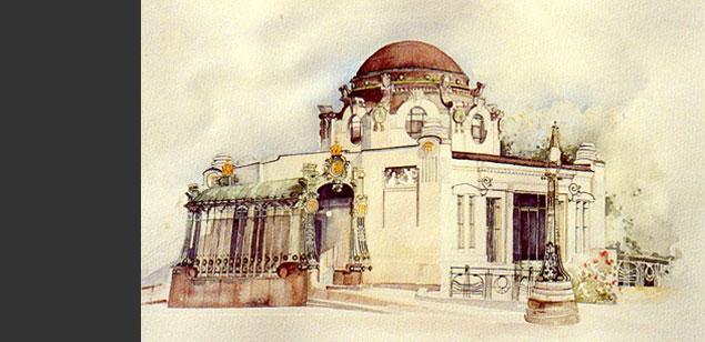 Otto wagner hofpavillon aquarell von sonja vrbovszky for Produktdesign wien